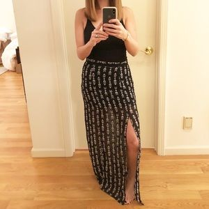 Aztec M Slit Sheer Maxi Skirt